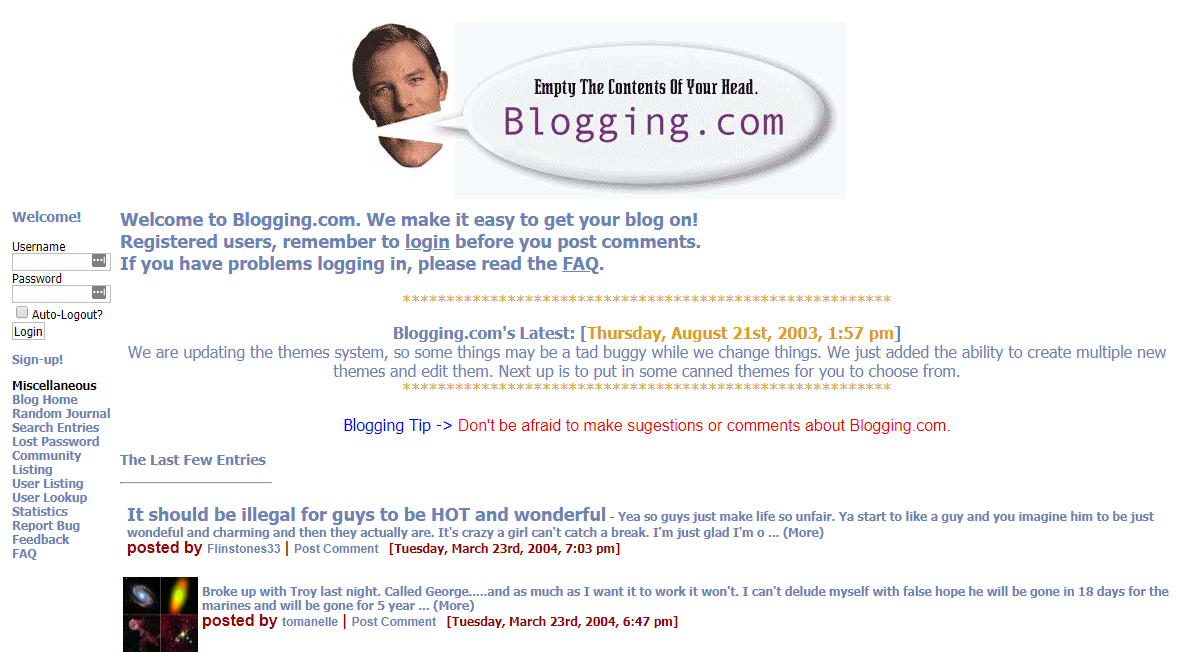 blogging.com in 2004