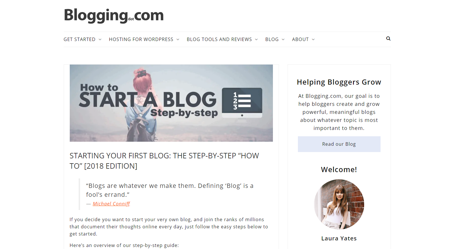 blogging.com current design