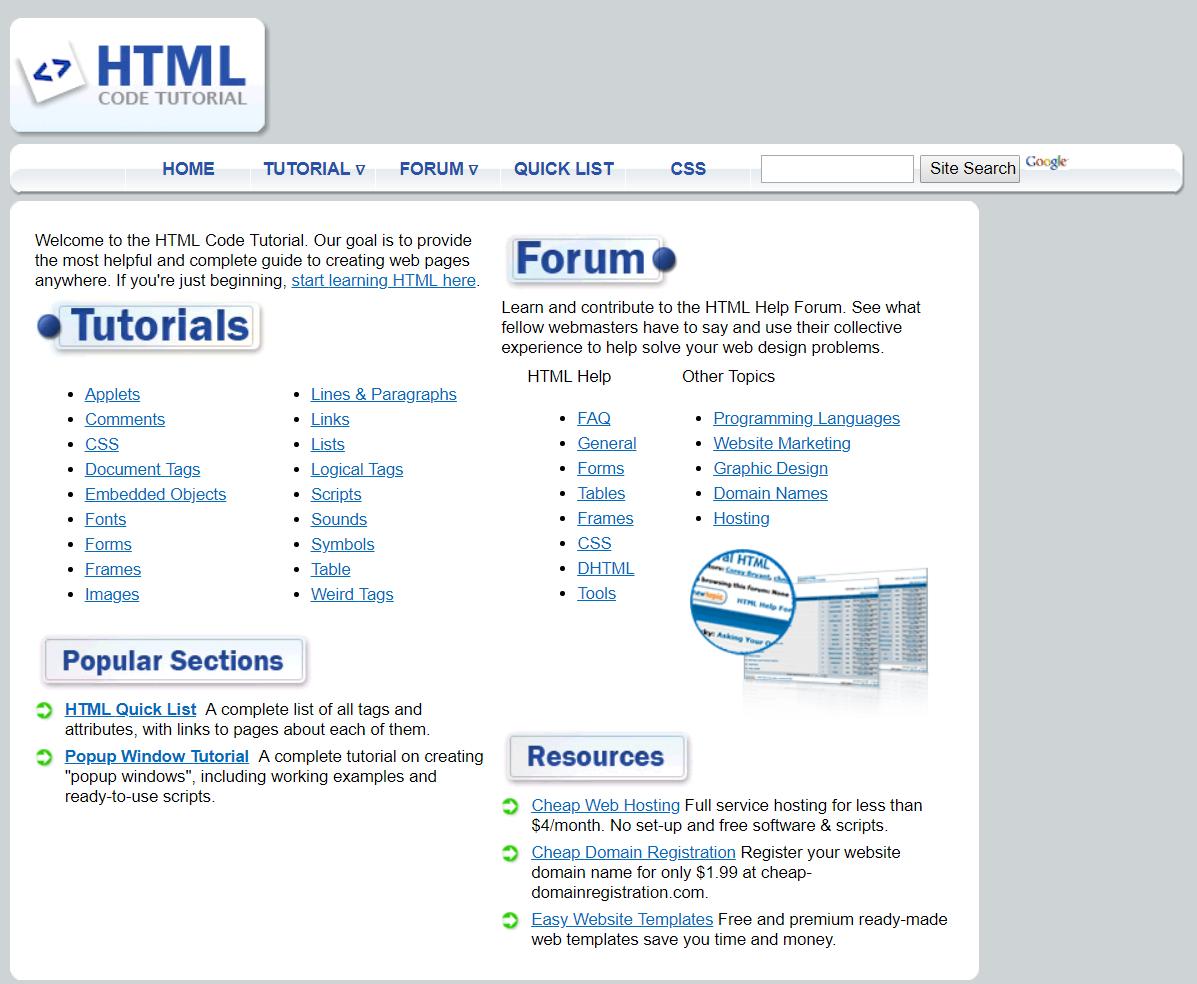 HTML.com in 2006